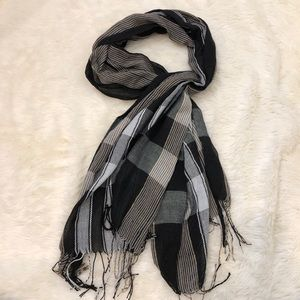 Accessories - Black white and gold plaid scarf